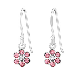 Children's Silver Flower Earrings with Crystal - EF21334