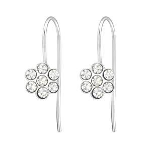 Children's Silver Flower Earrings with Crystal - EF21335
