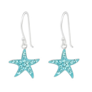 Children's Silver Starfish Earrings with Crystal