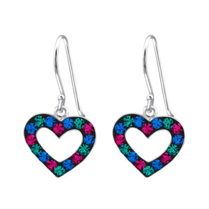 Children's Silver Heart Earrings with Crystal - Multi