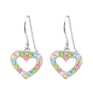Children's Silver Heart Earrings with Crystal - EF21349