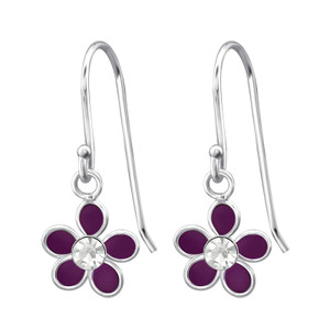 Children's Silver Flower Earrings with Crystal - EF21350