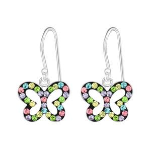 Children's Silver Butterfly Earrings - Multi