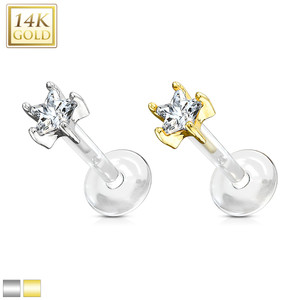 Star CZ Prong Set 14 Kt. Solid Gold Top with PTFE Flex Shaft Labret & Monroe