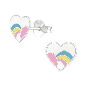 Children's Silver Heart Ear Studs - EF21686