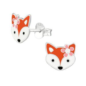 Children's Silver Fox Ear Studs - EF21690