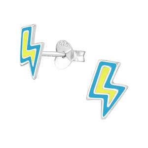 Children's Silver Lightning Bolt Ear Studs