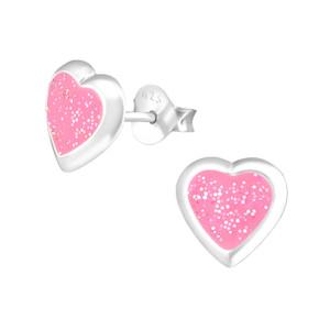 Children's Silver Heart Ear Studs - EF21721