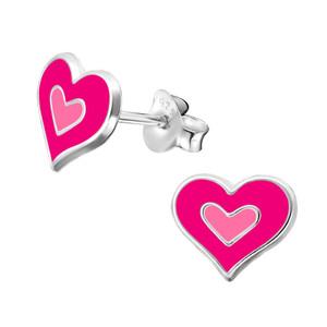 Children's Silver Heart Ear Studs - EF-21767