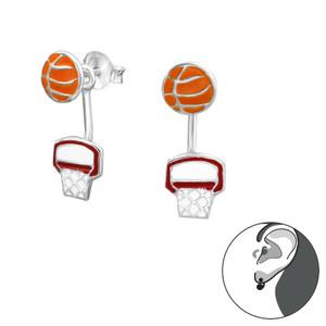 Silver Basketball Lovers Ear Jacket