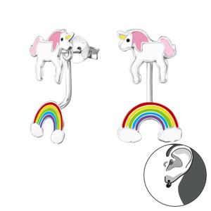 Silver Unicorn and Rainbow Ear Studs