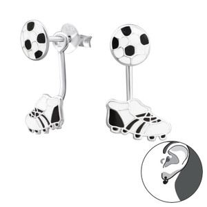 Silver Football and Boots Ear Jacket