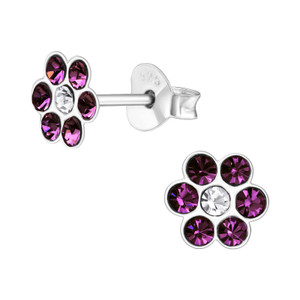 Children's Silver Flower Ear Studs with Crystal - EF21898