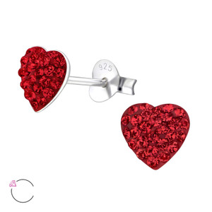 La Crystale Children's Silver Heart Ear Studs with Crystals from Swarovski® - EF1918
