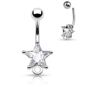 Star CZ Prong Set 316L Surgical Steel Belly Rings with O-Ring for Add on Dangles