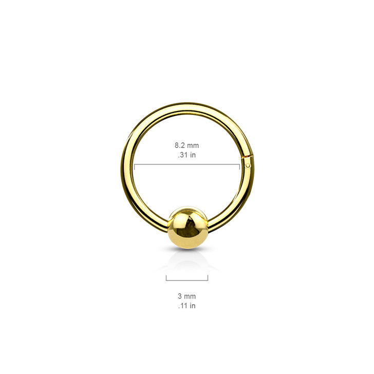 316L Surgical Steel Hinge Hoop Segment Rings with Ball for Ear Cartilage, Nose Septum and More