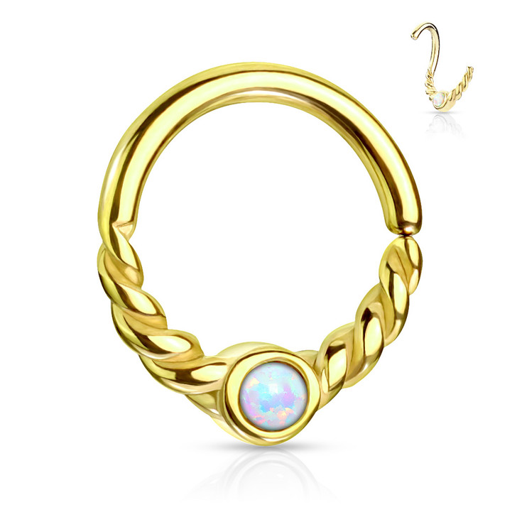 Opal Centered Braided Half Circle All 316L Surgical Steel Bendable Segment Rings for Daith, Cartilage & Nose Septum