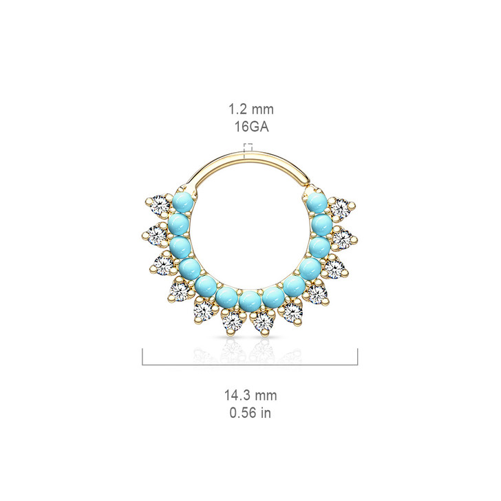 Turquoise and CZ Double Lined Bendable Hoops for Ear Cartilage, Daith & Nose Septum