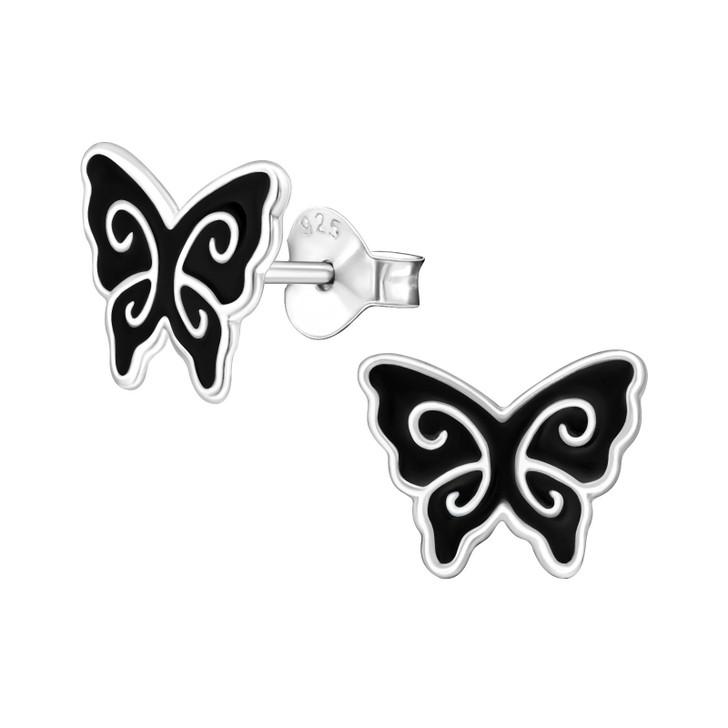 Children's Silver Butterfly Ear Studs - EF22061
