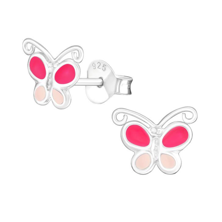Children's Silver Butterfly Ear Studs - EF22068