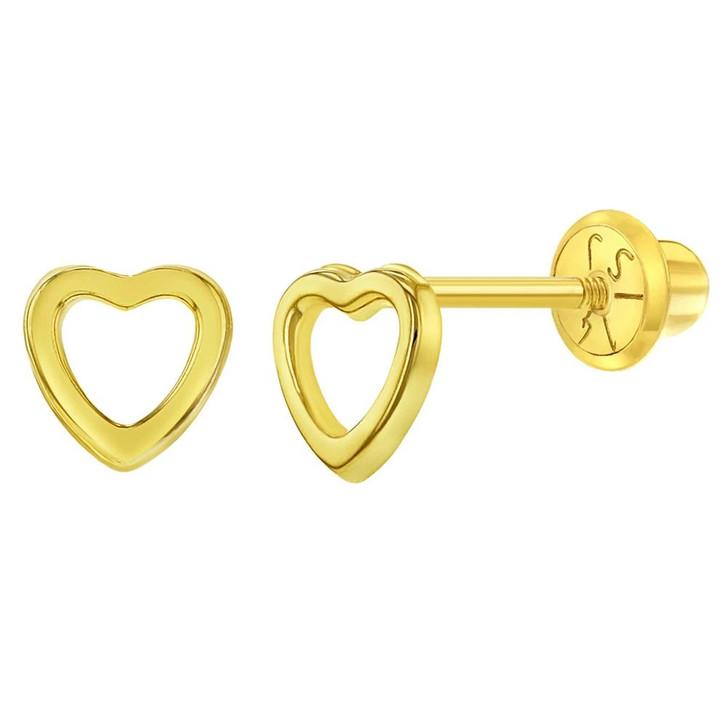 14k Yellow Gold Young Girls 5mm Open Heart Screw Back Stud Earrings for Children