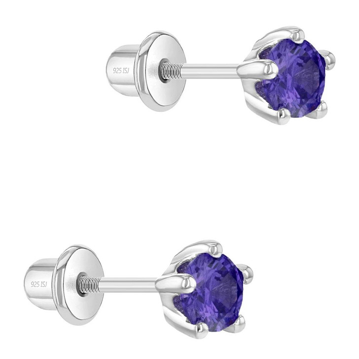 925 Sterling Silver Classic 4mm Prong Set Toddler Girls Cubic Zirconia Stud Earrings