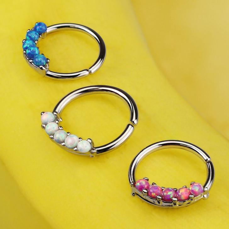 5 Opal Prong Set 316L Surgical Steel Bendable Septum & Cartilage Hoop Ring