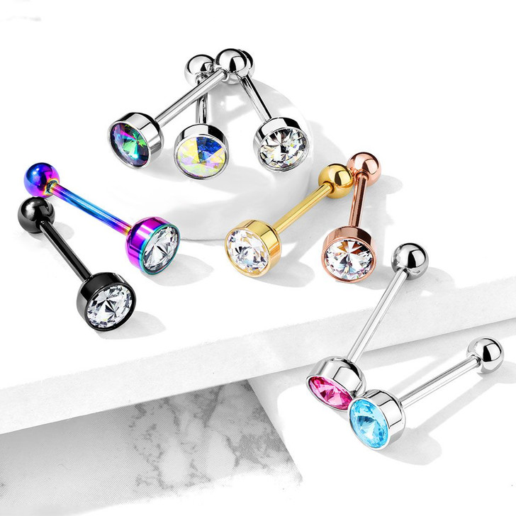 Press Fit 7MM Crystal Flat Top 316L Surgical Steel Barbell Tongue Ring