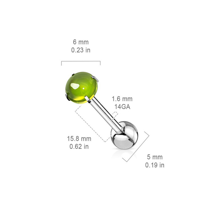 Prong Set Zircon Cabochon Stone 316L Surgical Steel Barbell Tongue Ring