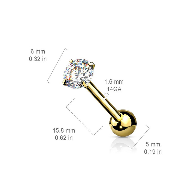 Prong Set Round CZ 316L Surgical Steel Barbell Tongue Rings