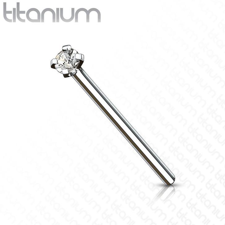 Fishtail CZ Prong Set Implant Grade Titanium Nose Pins