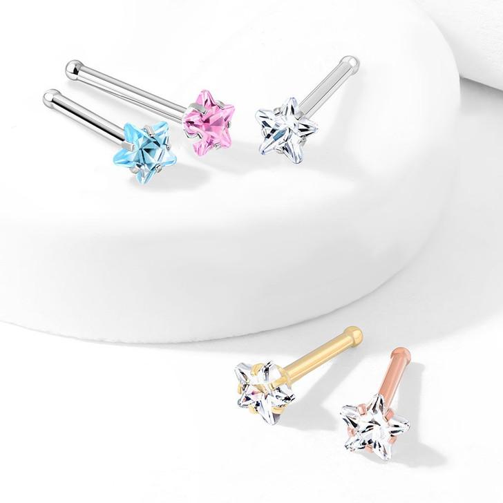 Prong Set Star CZ Top 316L Surgical Steel Nose Bone Stud Ring