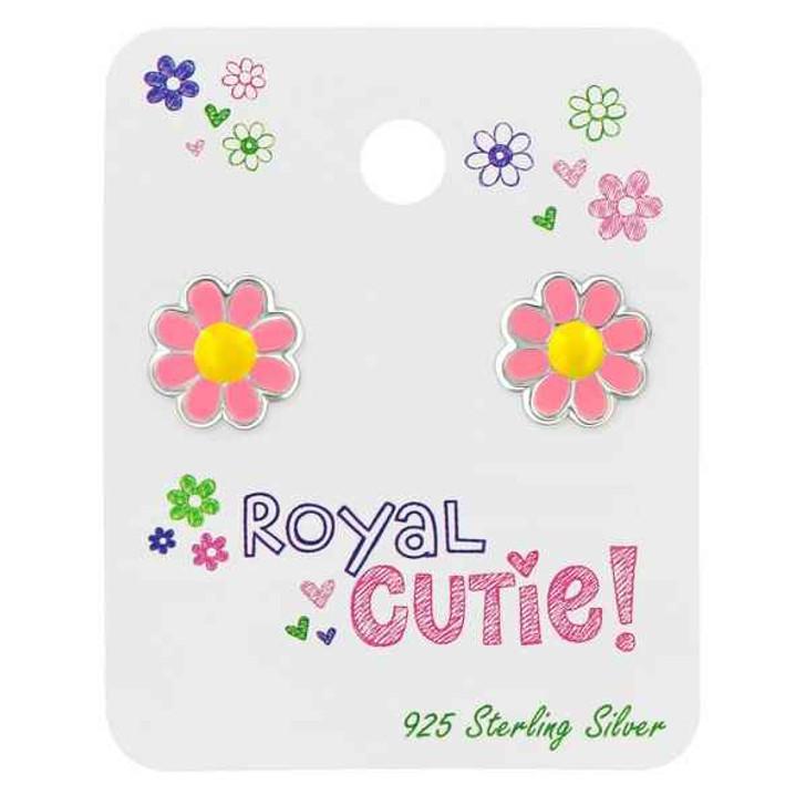 Silver Flower Ear Studs with Epoxy on Royal Cutie Card