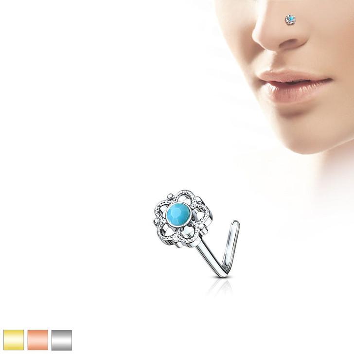 Flower Filigree Turquoise Center 316L Surgical Steel L Bend Nose Stud Ring