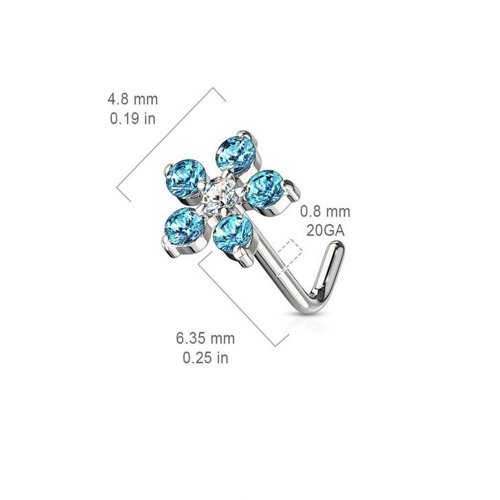 6 CZ Flower 316L Surgical Steel L Bend Nose Stud Ring