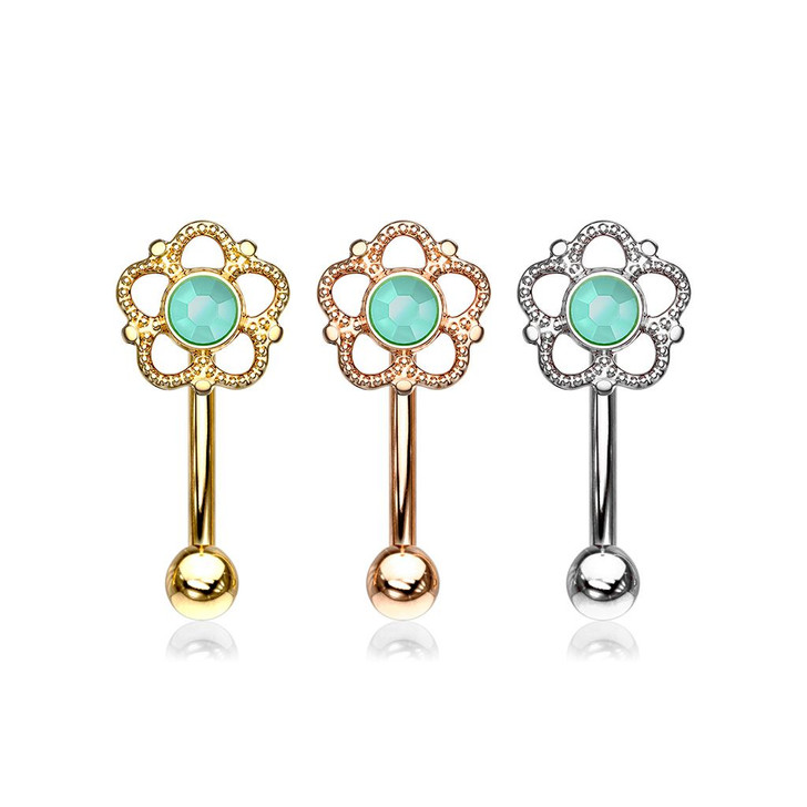 Flower Filigree Turquoise Center Top 316L Surgical Steel Eyebrow Ring, Curved Barbell