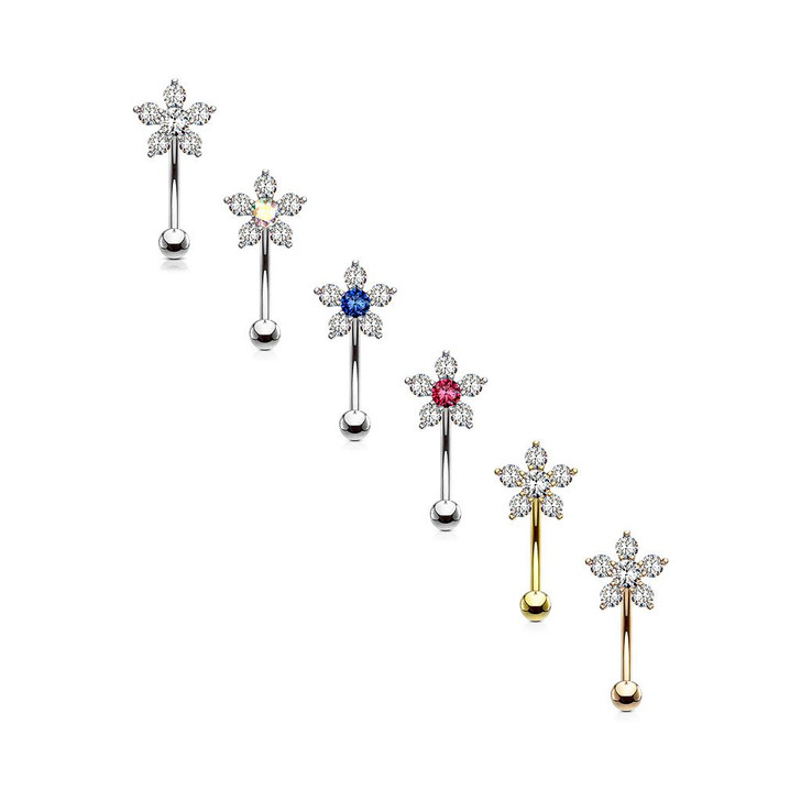 Double Tiered 6 CZ Flower 316L Surgical Steel Eyebrow Ring, Curved Barbells