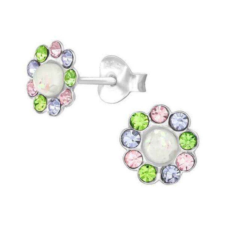 Silver Flower Ear Studs with Crystal and Synthetic Opal