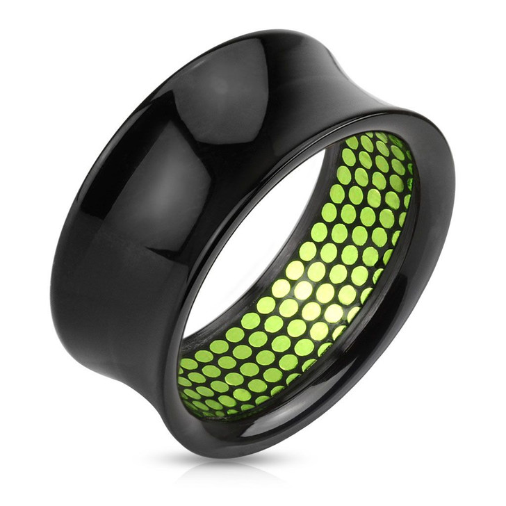 Green Dotted Pattern Black Acrylic Saddle Fit Tunnel