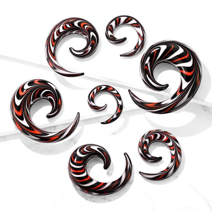 Black, Red, and White Glass Spiral Tapers
