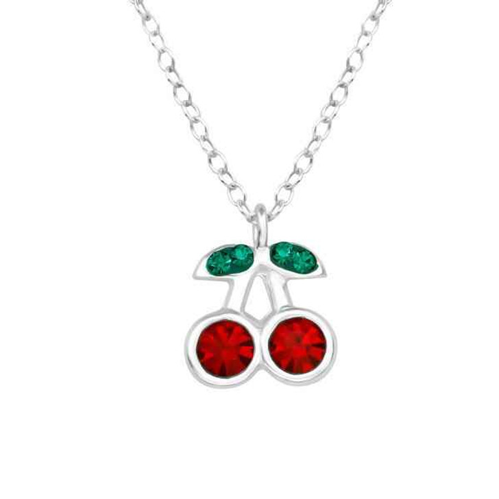 Childrens Silver Cherry Necklace with Crystal
