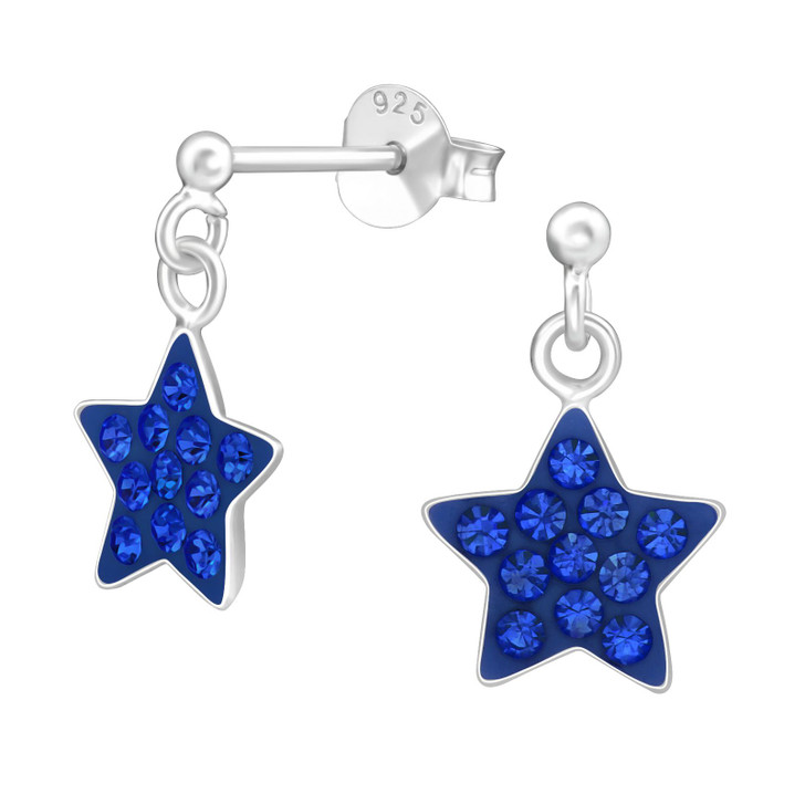 Children's Silver Ball Ear Studs with Hanging Star and Crystal