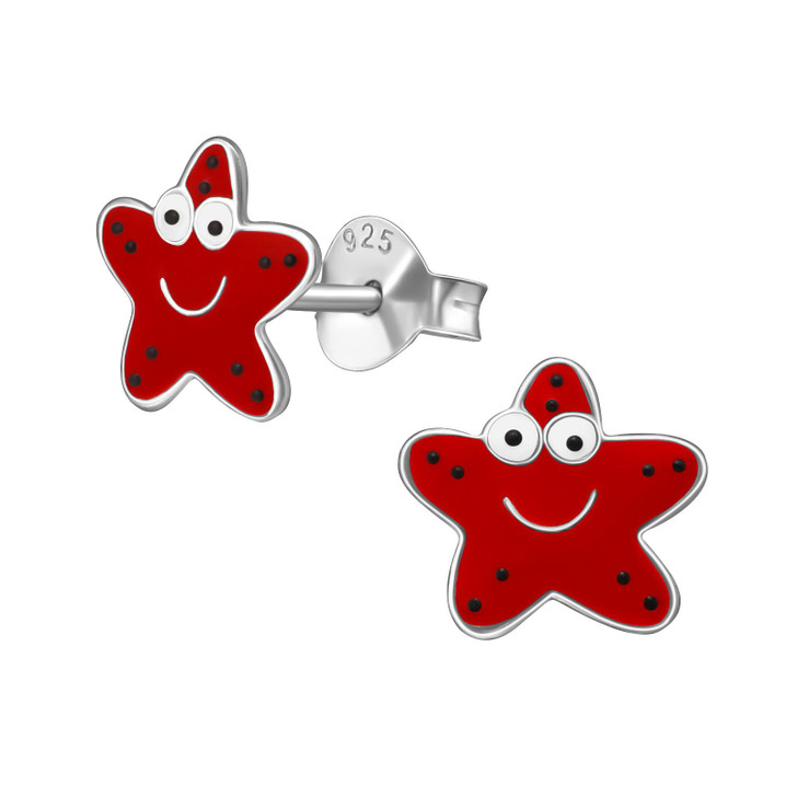 Children's Silver Starfish Ear Studs with Epoxy