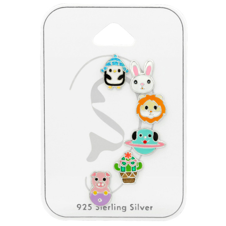 Children's Silver Mixed Set and Jewelry on Card with Crystal and Epoxy