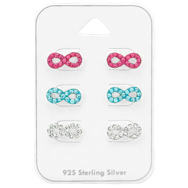 Silver Infinity Ear Studs Set with Crystal on Card