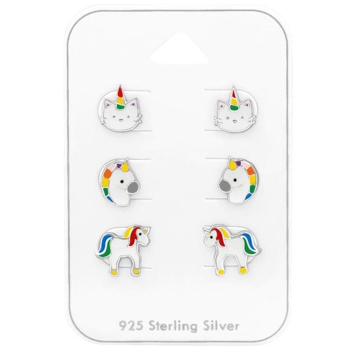 Silver Unicorn Ear Studs Set with Epoxy on Card