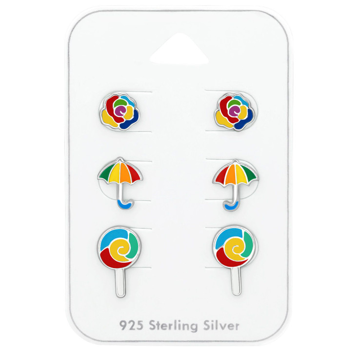 Silver Colorful Ear Studs Set with Epoxy on Card