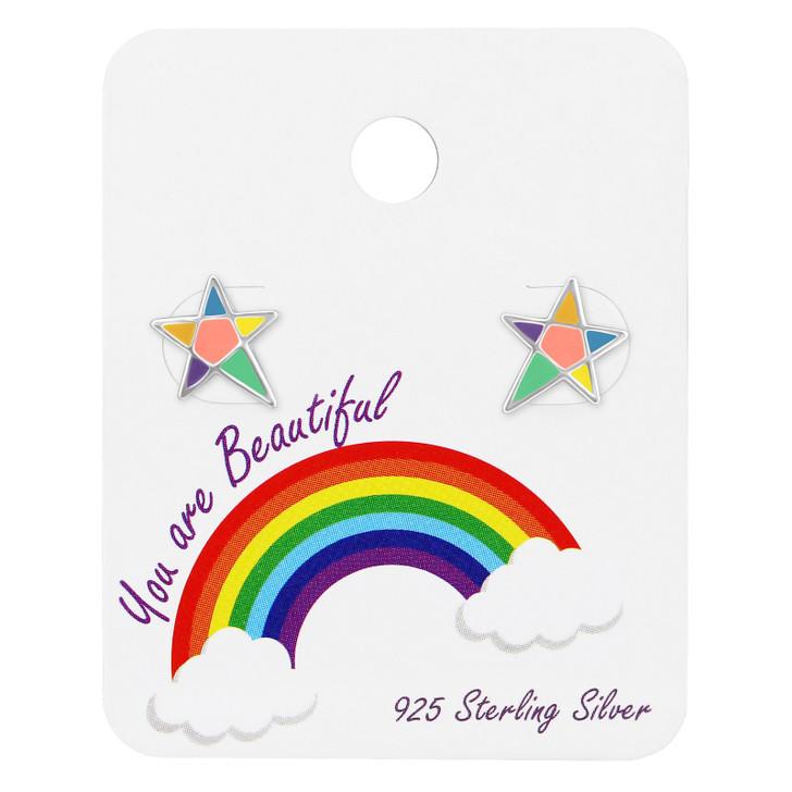Silver Star Ear Studs with Epoxy on Rainbow Card