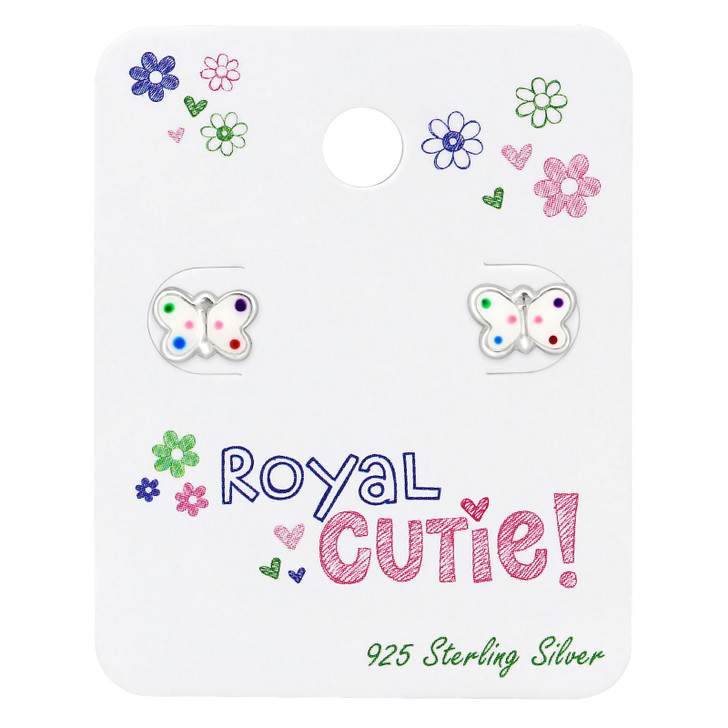 Silver Butterfly Ear studs with Epoxy on Royal Cutie! Card