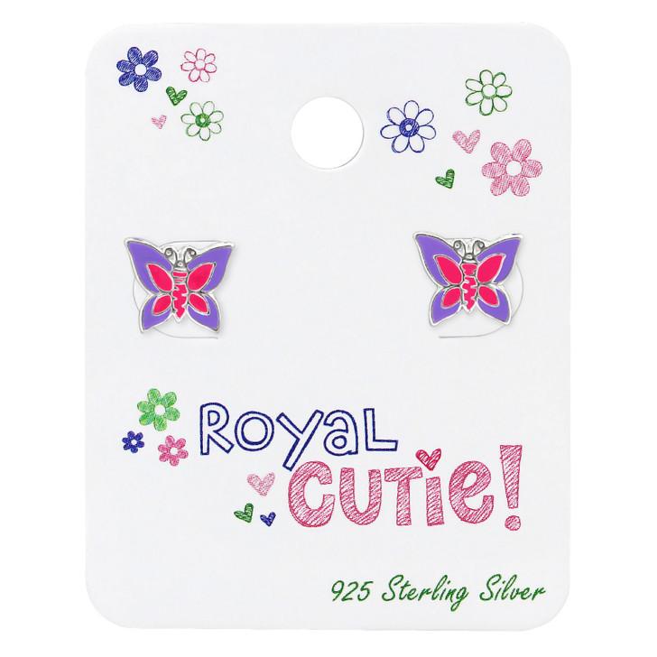 Silver Butterfly Ear studs on Royal Cutie! Card